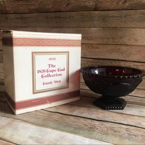 Avon Ruby Red Vintage Cape Cod Candy Dish Cut